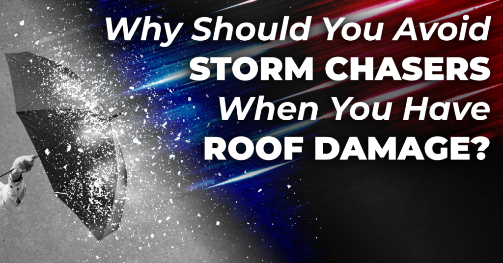 umbrella with rain and hail falling on it and the caption Why Should You Avoid Storm Chasers When You Have Roof Damage?